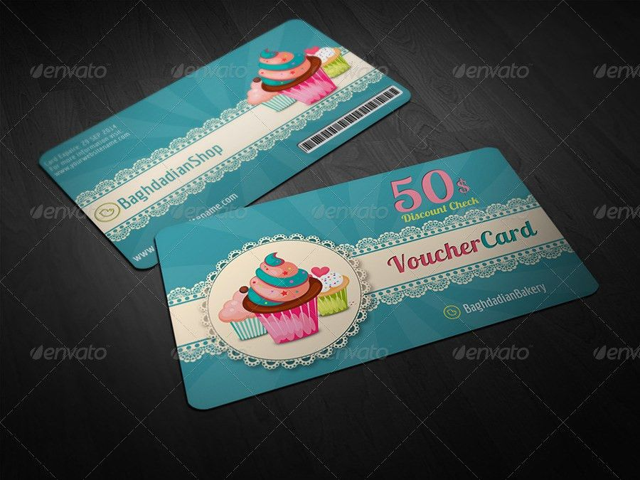 Cake Shop Voucher Gift Card Template by OWPictures   GraphicRiver