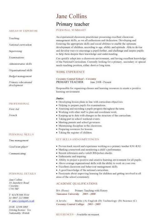 Resume Format For School Teacher Job - Best Resume Collection
