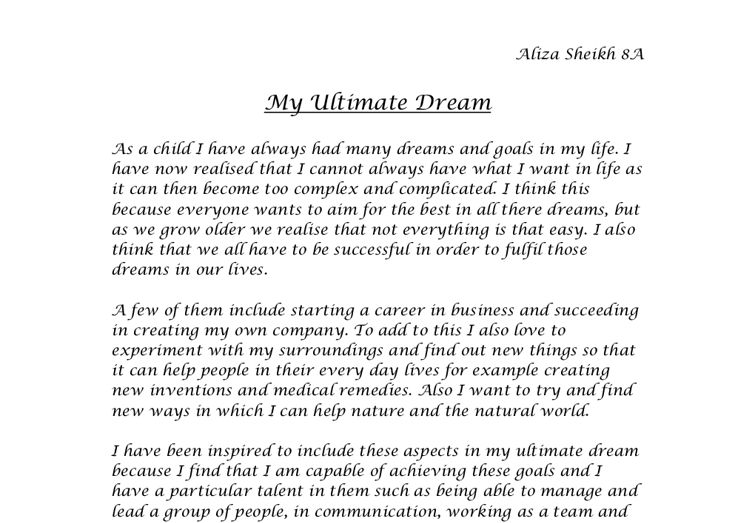 every has a dream essay Free essays on my most interesting dream nocturnal adventures or about what to write in dreams essays dreams essay article ralph waldo every has a dream.