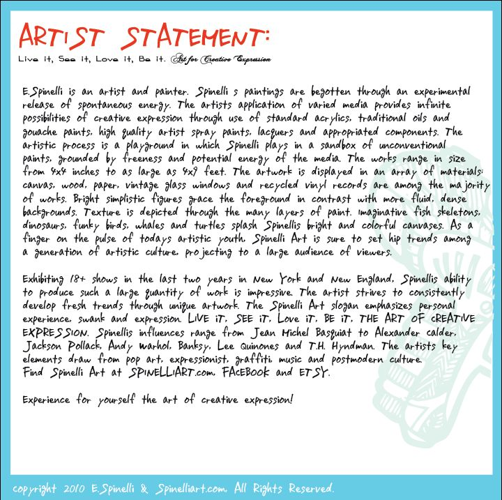 PANGA MANAGEMENT LOVES WORDY AND INSIGHTFUL ARTIST STATEMENTS ...