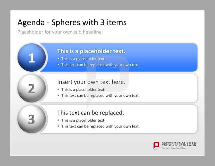 Professional PowerPoint Agenda Template: Spheres with 3 items ...