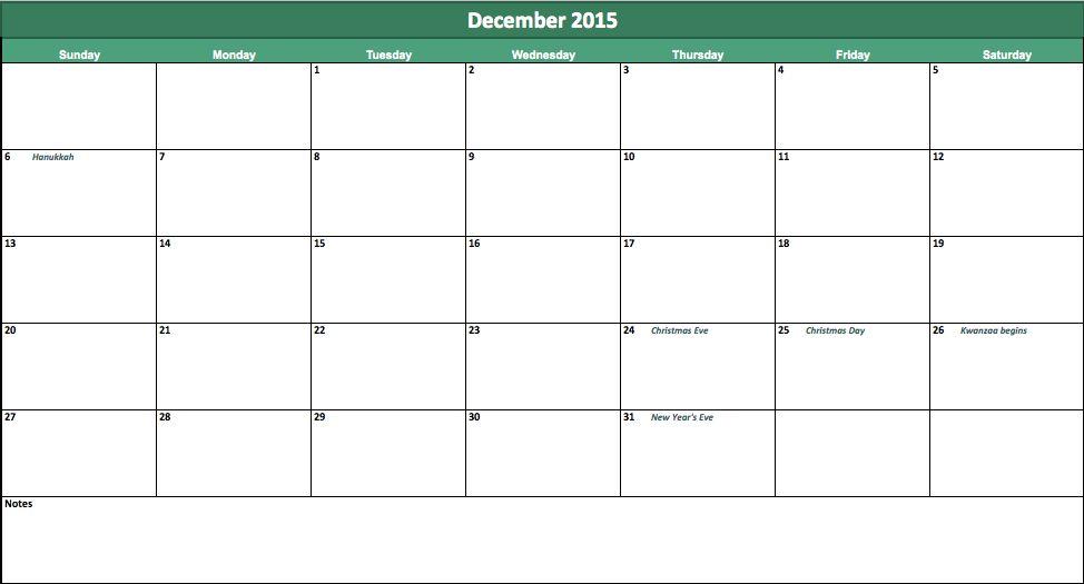 December 2015 Calendar | 2015 December Calendar
