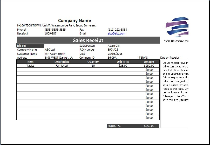 Collection of Professional Business Receipts | Excel Templates