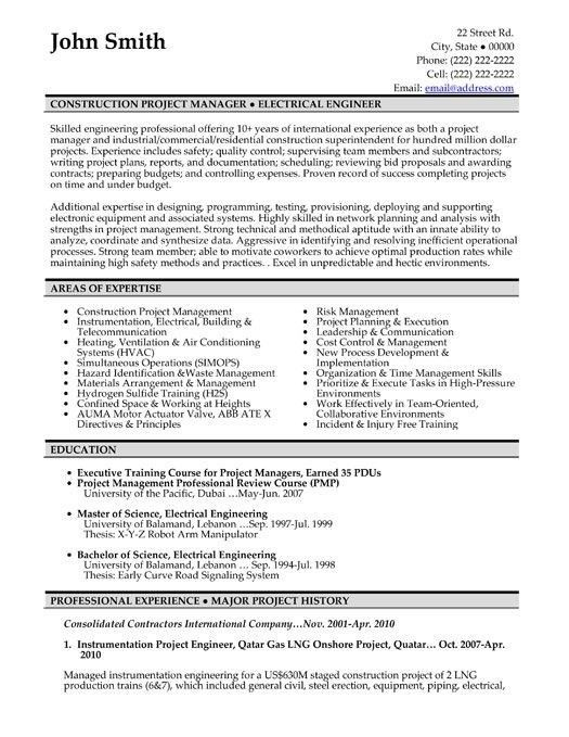 Sample Construction Resume. 100 sample resume for project manager ...