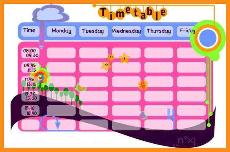 Class Timetable Template [Template.billybullock.us ]
