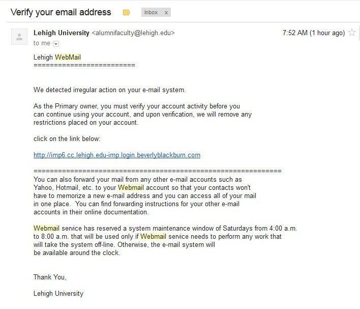 "Fake ""Irregular Action"" / Verify Address Alert | Library ..."
