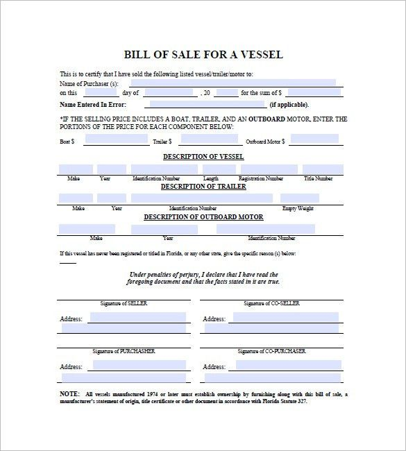 8+ Boat Bill of Sale - Free Sample, Example, Format Download ...