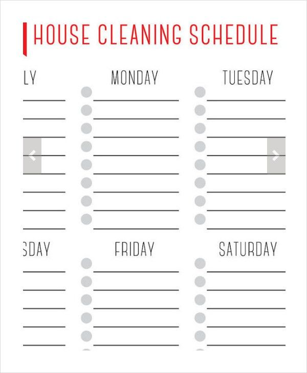 House Cleaning Schedule - 9+ Free Word, PDF, PSD Documents ...