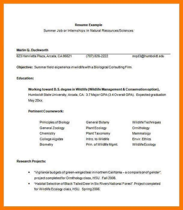 5+ internship resume templates | park-attendant
