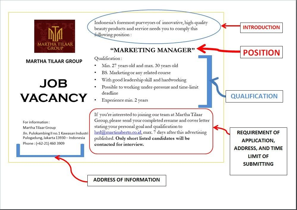 JOB VACANCY GROUP 11 !!! | English Class D of Management UIN ...