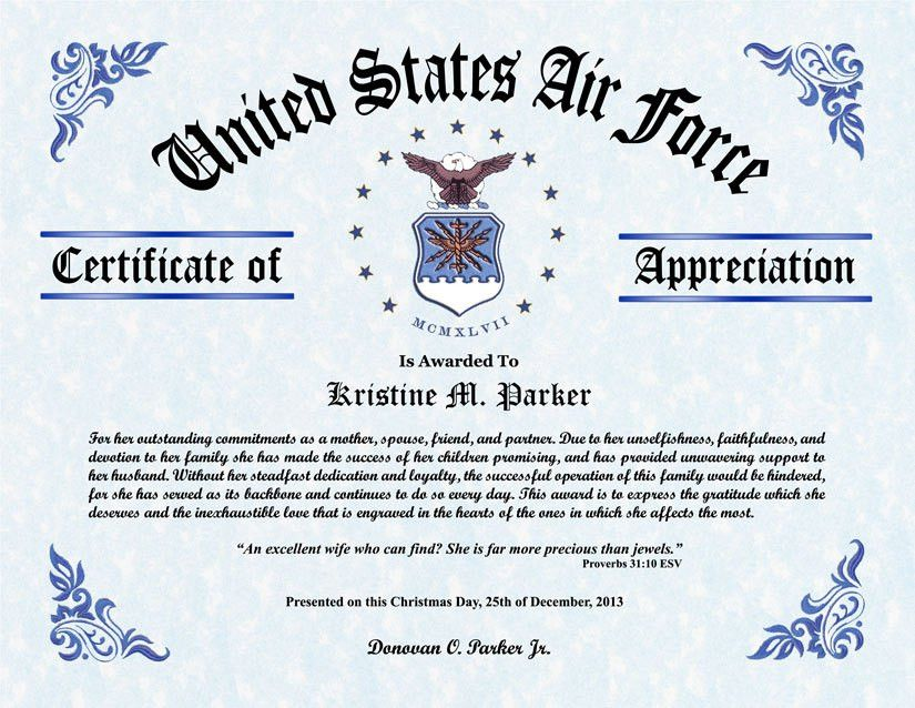 Military Certificate Templates - formats.csat.co