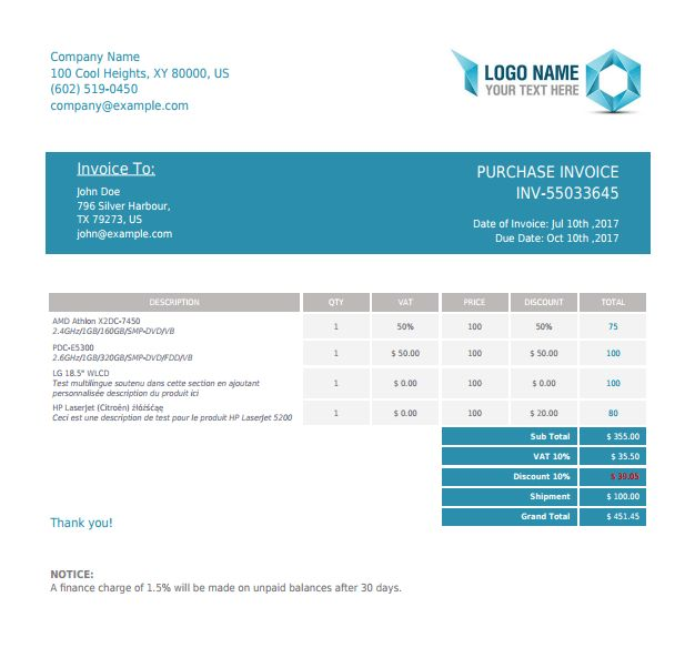 PHP Invoice X2 - PHP Class For Beautiful PDF Invoices Using HTML ...
