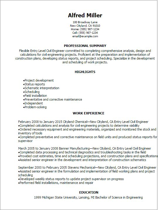 Professional Entry Level Civil Engineer Resume Templates to ...