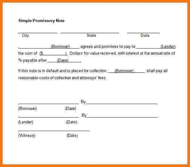 5+ free promissory note template word | Itinerary Template Sample