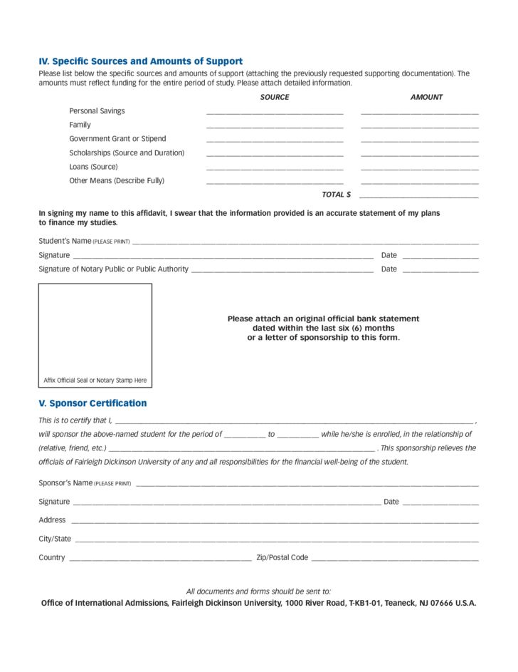 Affidavit of Financial Support Form - New Jersey Free Download