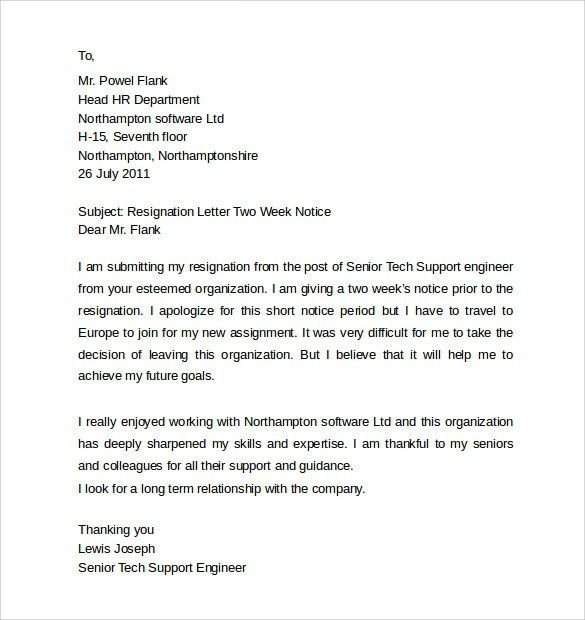 Resignation Letter 2 Week Notice. Two Weeks Notice Letter ...