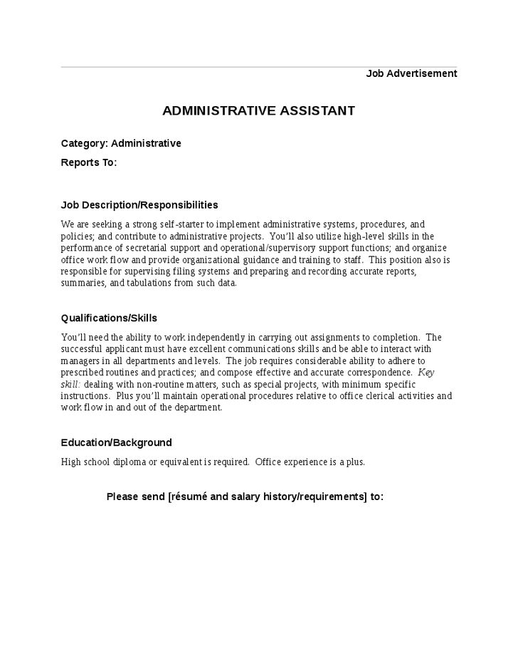 High Level Executive Assistant Duties Job Description for ...