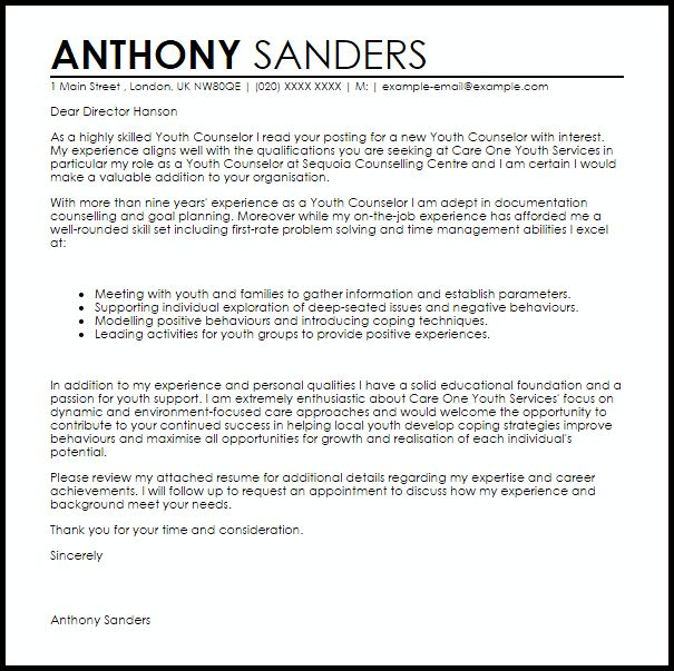 Youth Counselor Cover Letter 3 Youth Counselor Cover Letter Sample ...
