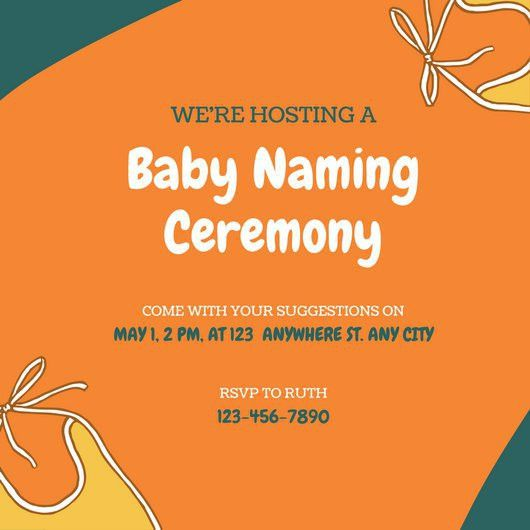 Blue and Orange Baby Naming Ceremony Invitation - Templates by Canva