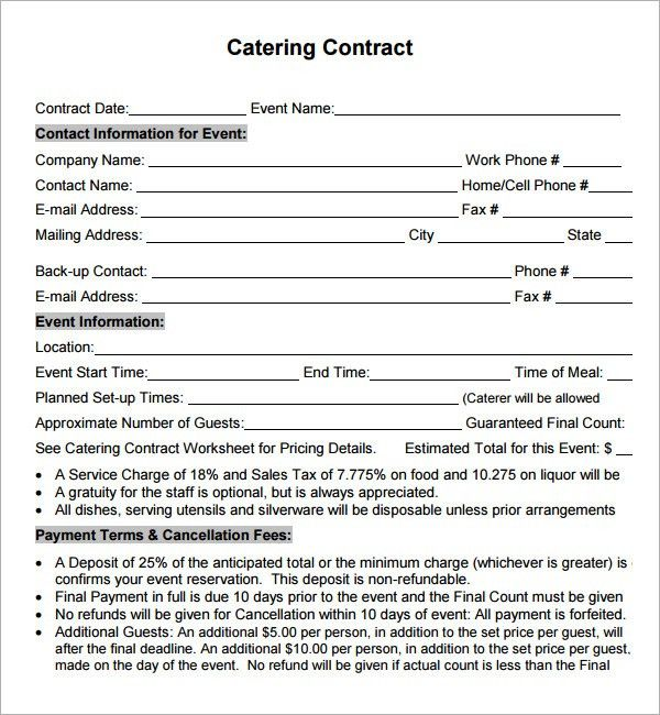 Catering Contract Agreement. Contract Corporate Catering Leads ...