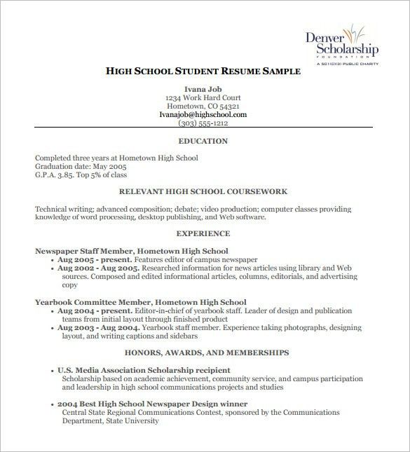 High School Resume Template – 9+ Free Word, Excel, PDF Format ...