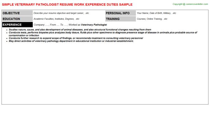 Veterinary Pathologist Resume Sample