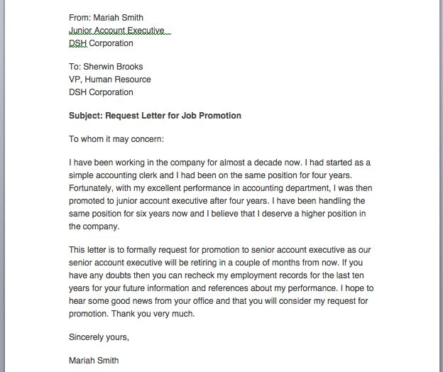 letter request for promotion