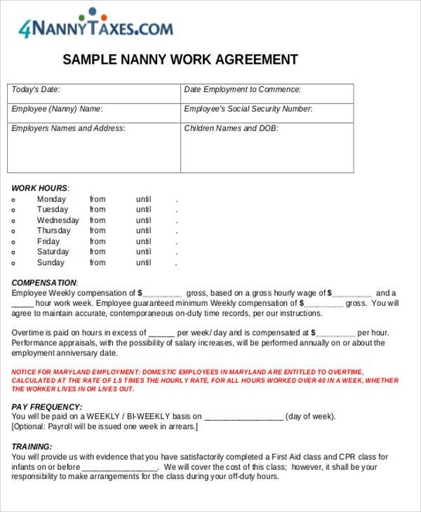 Nanny Agreement Contract Sample - 7+ Examples in Word, PDF