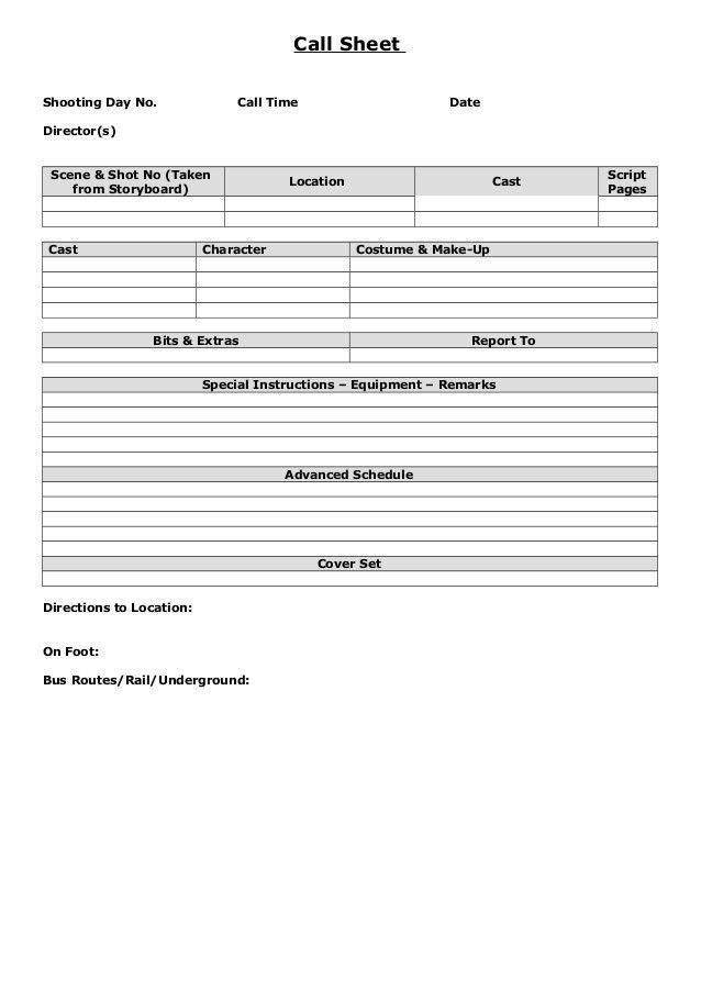 Call sheet example blank