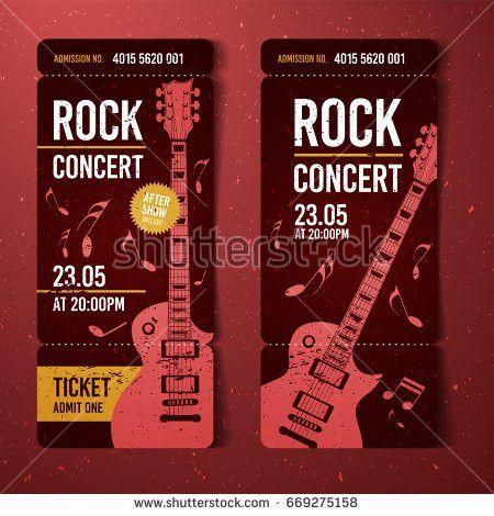 Vector Rock Festival Ticket Design Template Stock Vector 601985885 ...