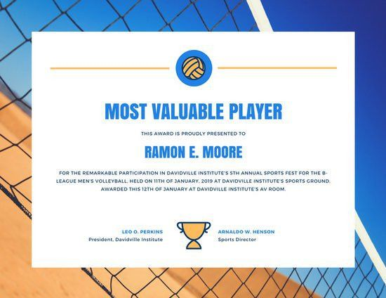 Blue and Orange Volleyball Sports Certificate - Templates by Canva