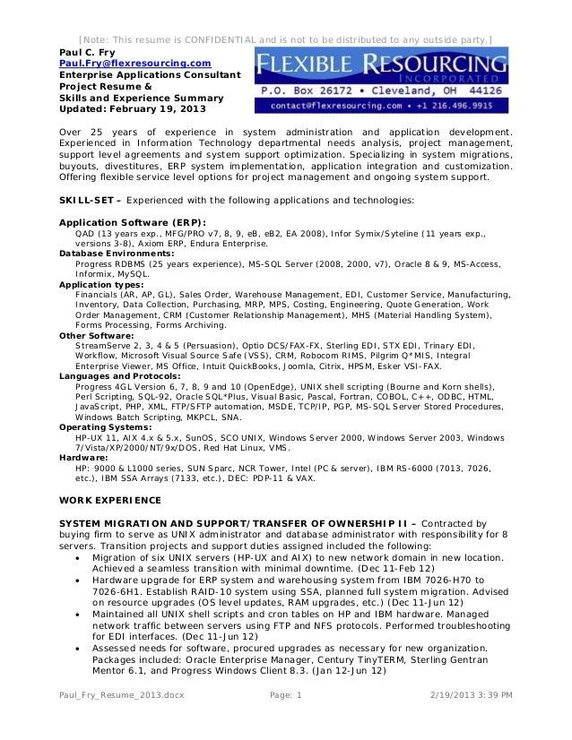 Paul Fry Project Resume