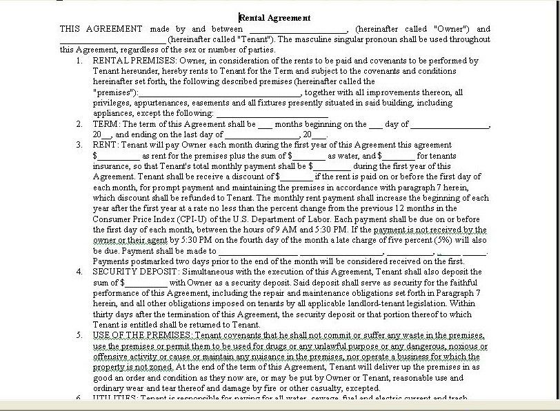 Printable Sample Room Rental Agreement Form Form | Real Estate ...