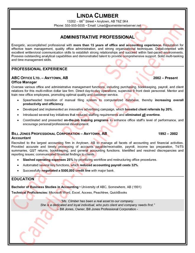 canada resume samples