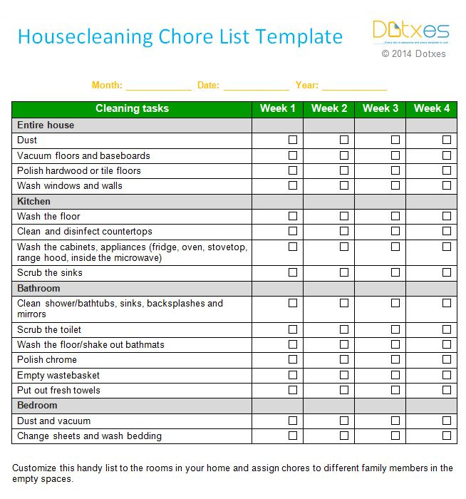 House cleaning chore list template (Weekly) - Dotxes