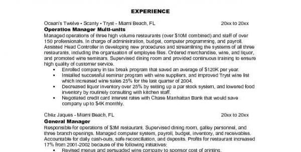 back to post fast food resume example. resumes for food service ...