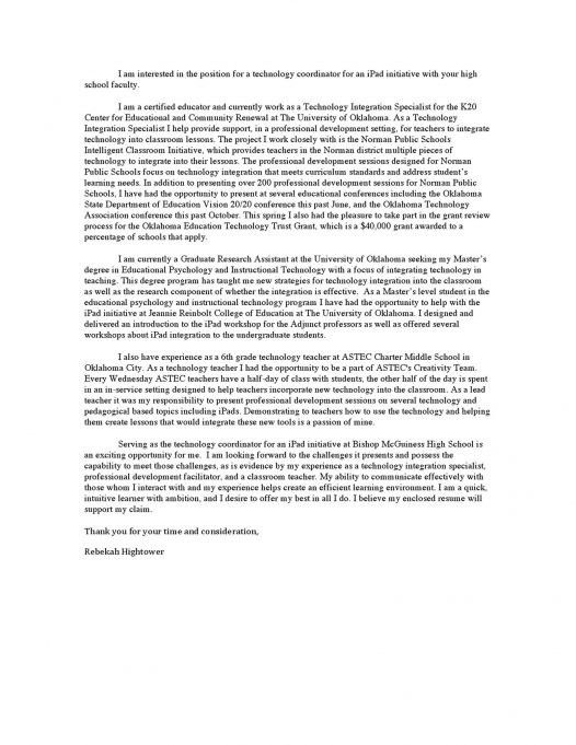 sample cover letter for college teaching position
