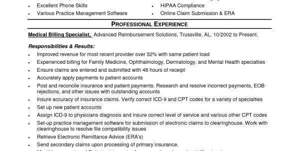 medical biller resume resume sample format medical billing and ...