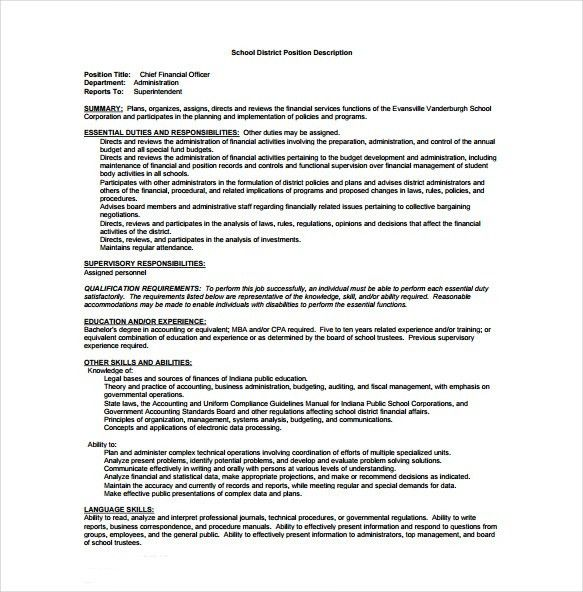 Chief Financial Officer Job Description. Corporate Compliance ...