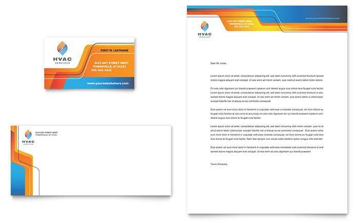HVAC Business Card & Letterhead Template Design