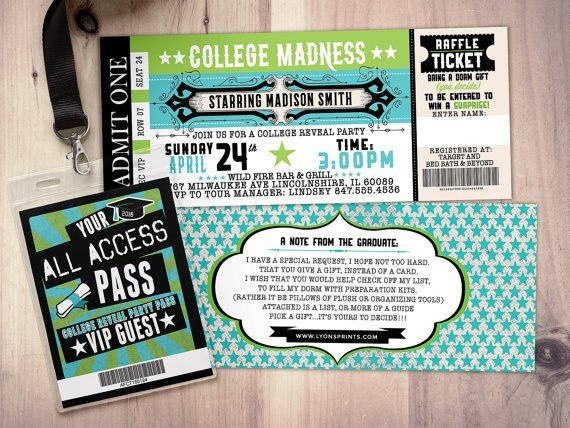 College reveal party Concert ticket graduation party
