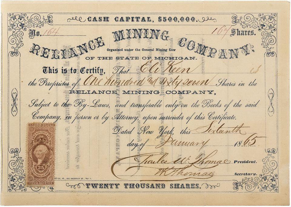 MI - 1865 - Reliance Mining Company Stock Certificate