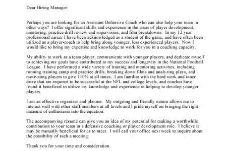 Athletic Coach Cover Letter