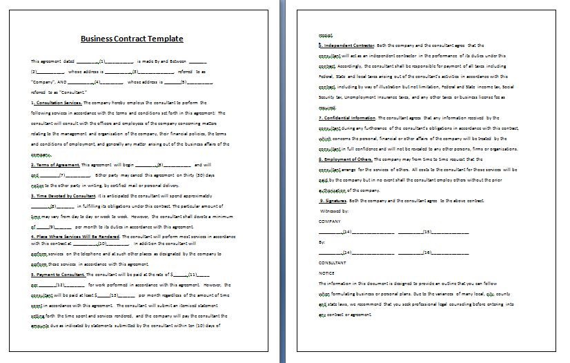 Contract Templates | Guidelines and Templates for Drafting ...