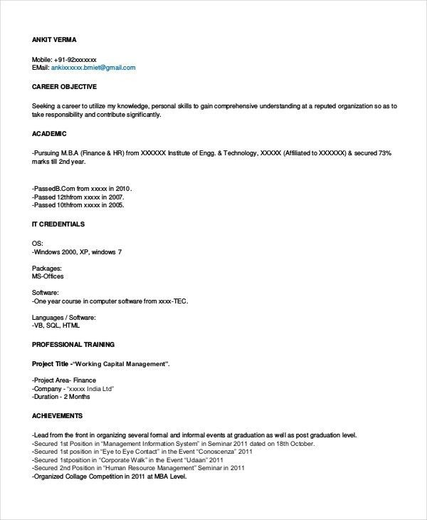 Finance Resume Templates- 28+ Free Word, PDF Documents Download ...