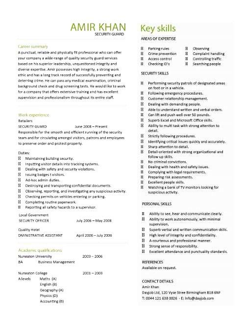 Security Resume [Template.billybullock.us ]