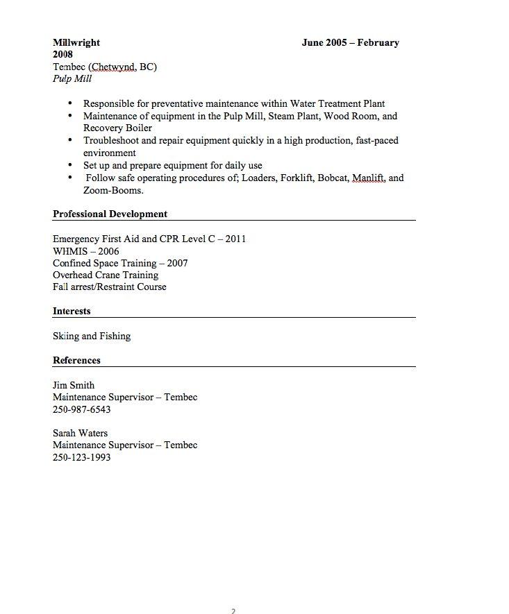 Millwright Resume Sample - http://resumesdesign.com/millwright ...