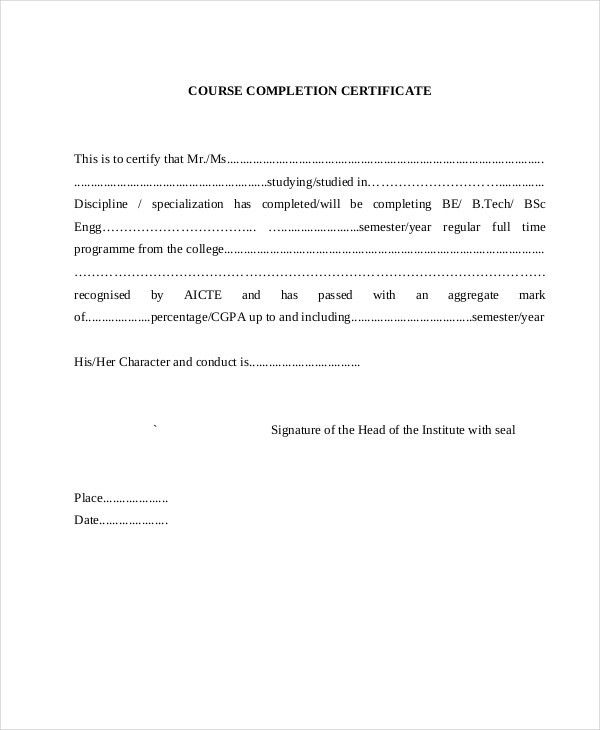 Certificate of Completion - 21+ Free Word, PDF, PSD Documents ...