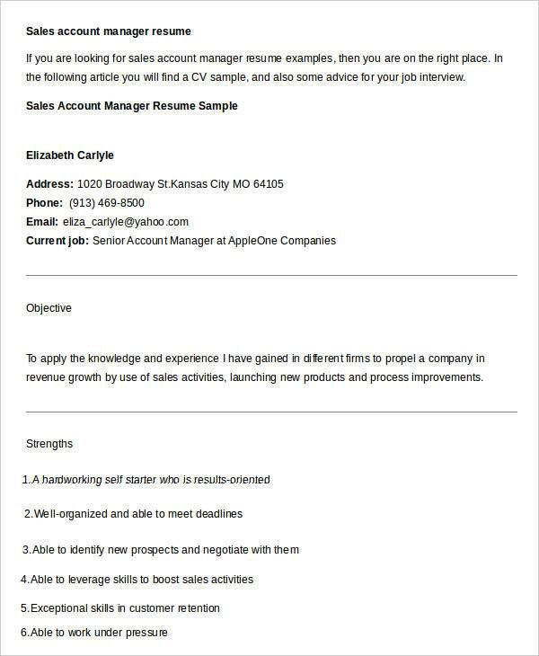 high value customer account manager resume samples account