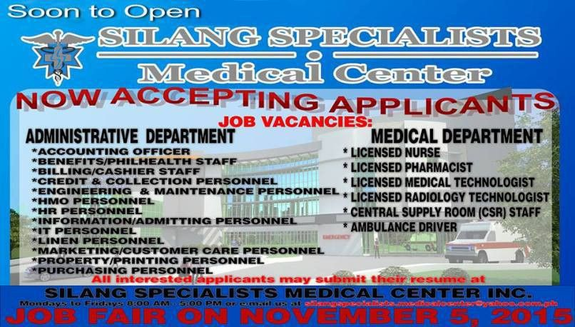 Job Openings in Silang Specialist Medical Center, Silang Cavite